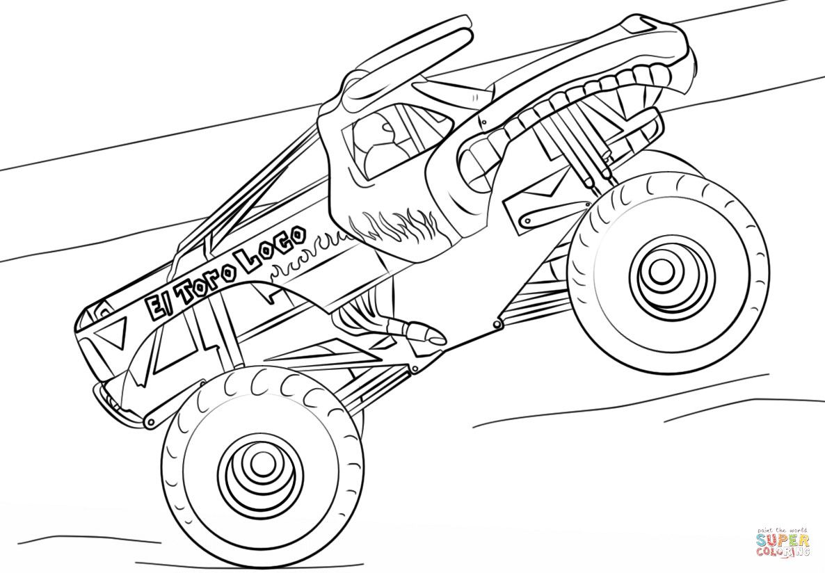 Monster Truck Coloring Pages Best Of El Toro Loco Monster Truck Coloring Page Monster Truck Coloring Pages Truck Coloring Pages Tree Coloring Page
