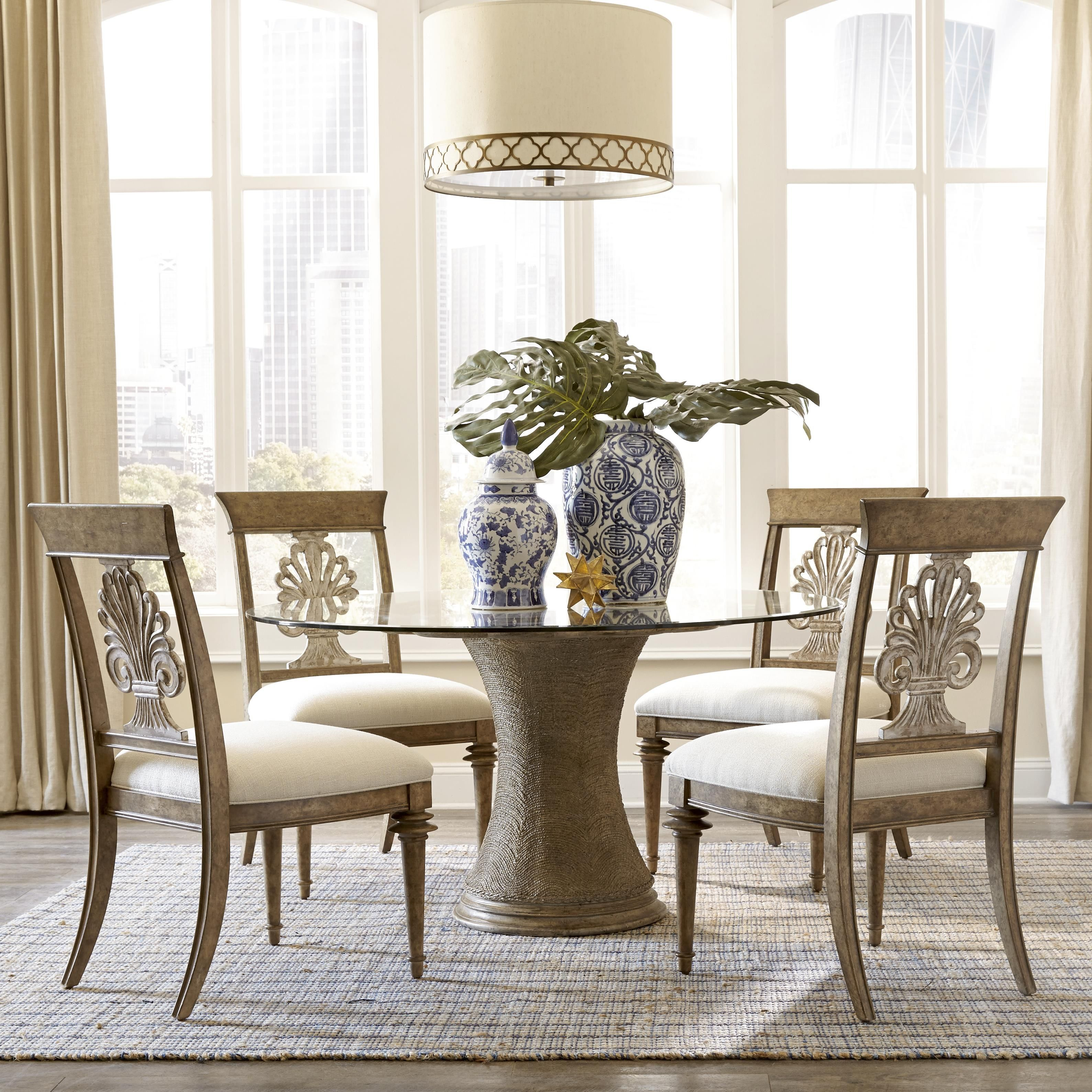 Tropical Dining Room Furniture: Tropical Style Radiates From This Pedestal Dining Table