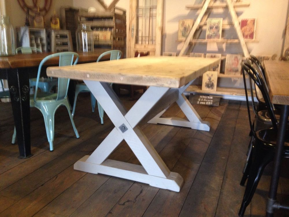 Rustic Reclaimed 6ft X Frame Pine Dinning Table in Home, Furniture ...