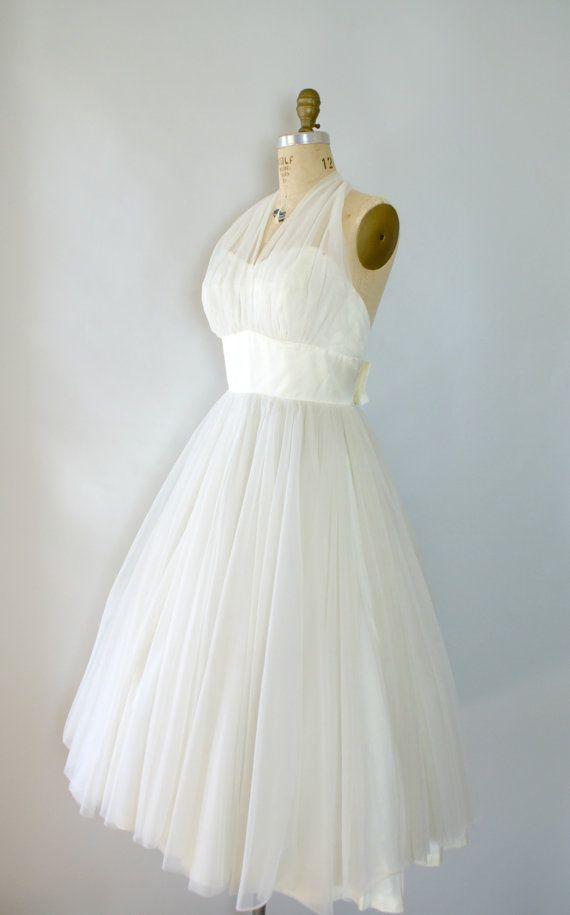 Vintage 1950s Wedding Dress - Ivory Chiffon Halter Neck Summer ...