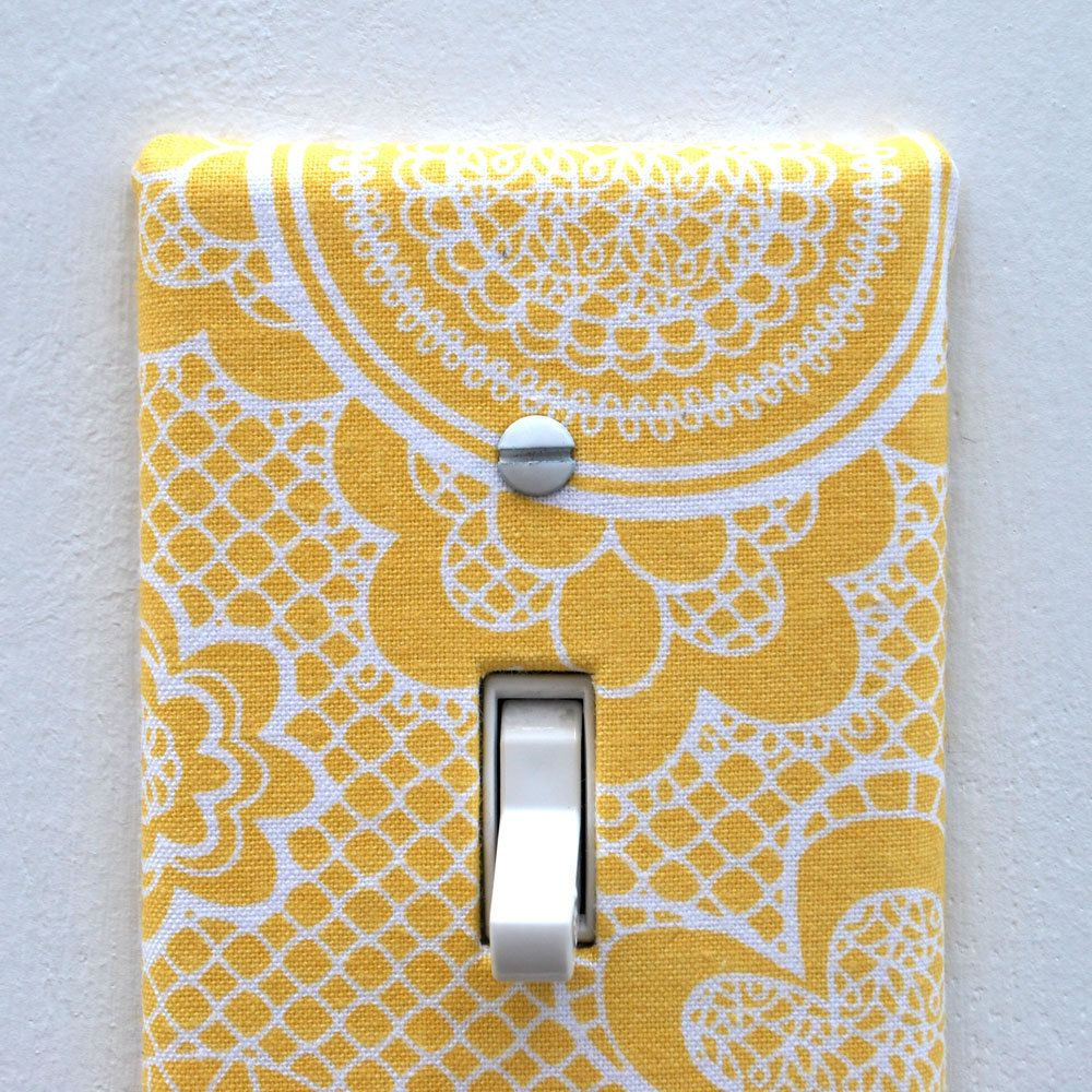 Light Switch Plate Cover, wall decor - yellow with white lace ...