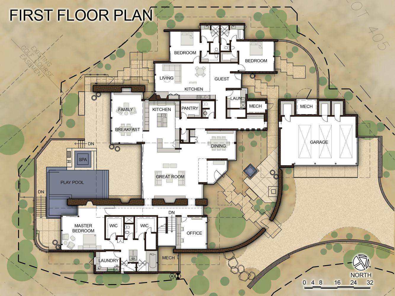 Gallery Of Desert Wing Kendle Design Collaborative 41 Courtyard House Plans Floor Plans Desert Homes