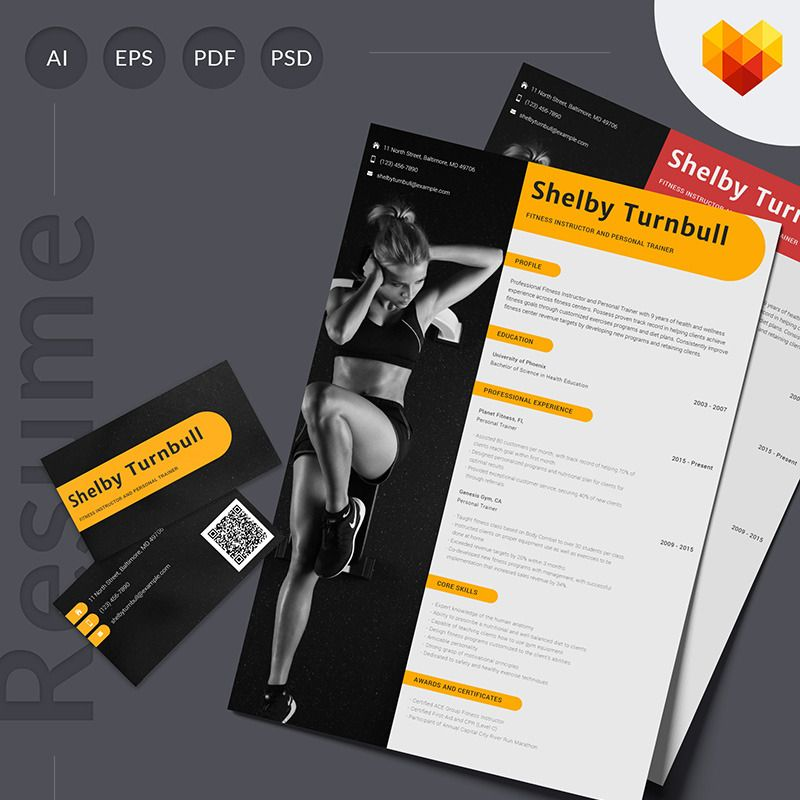 Personal Trainer Resume Template For Gym And Fitness Instructor