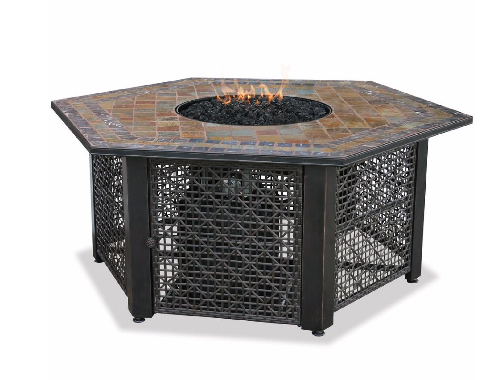 Uniflame Gad1374sp Uniflame 55 1 Liquid Propane Gas Outdoor Firebowl With Slate Tile Mantel Gas Fire Pit Table Outdoor Fire Pit Table Gas Fire Table