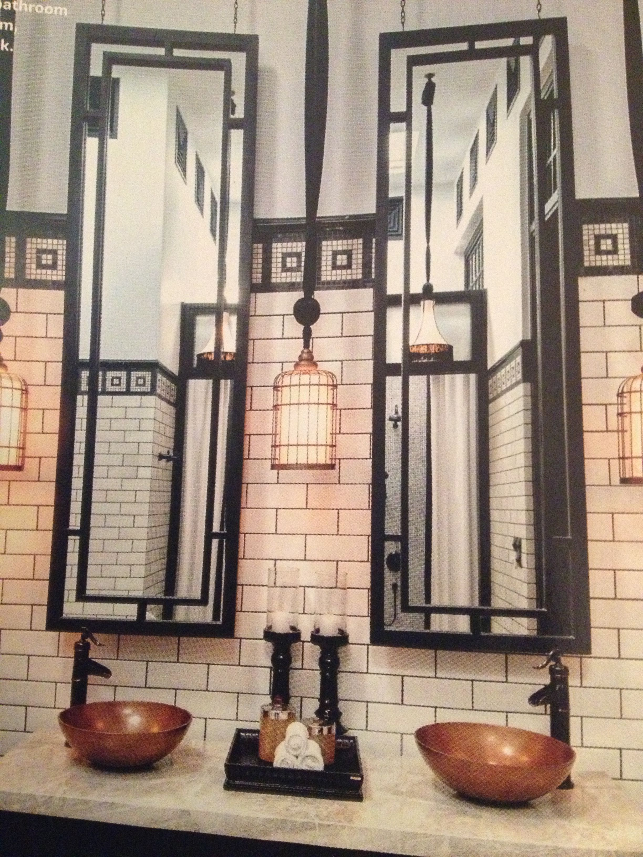 Clean Black And White Subway Tile Bathroom Beautiful Mirrors With