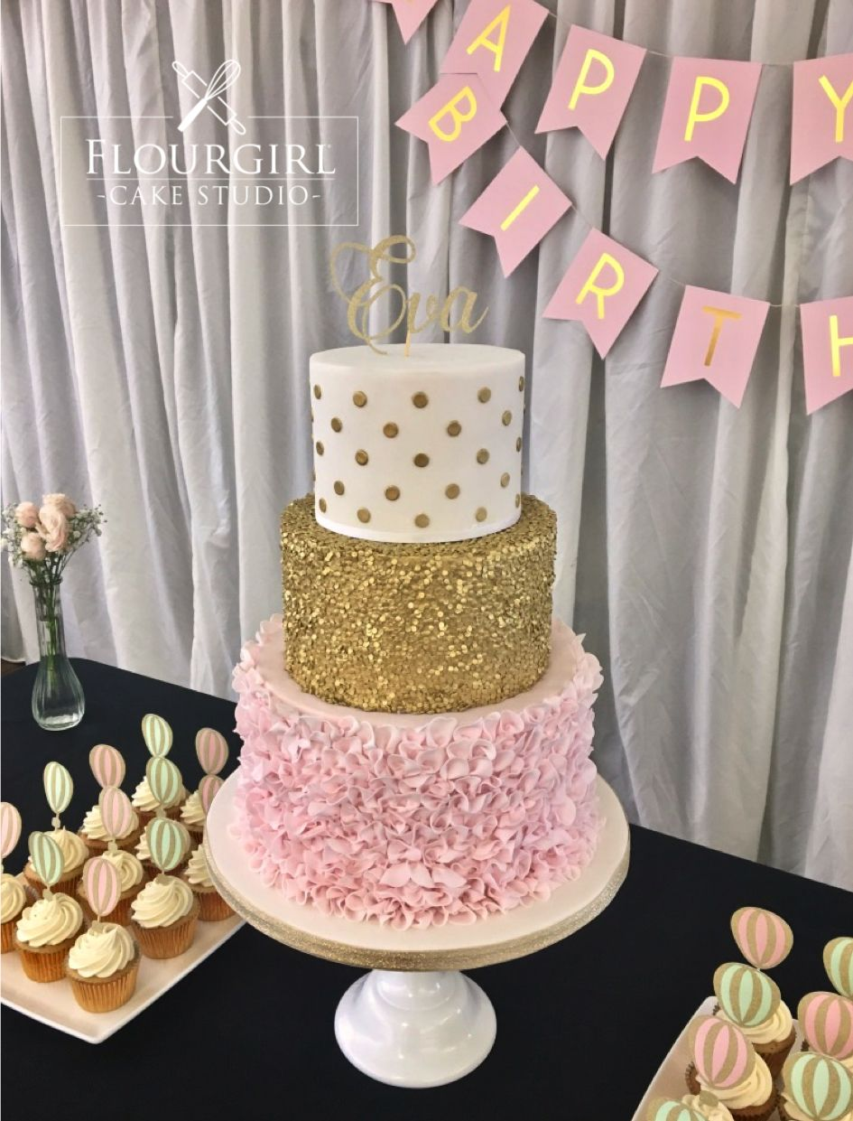 Pink And Gold Birthday Cake Sequin Ruffle Wedding