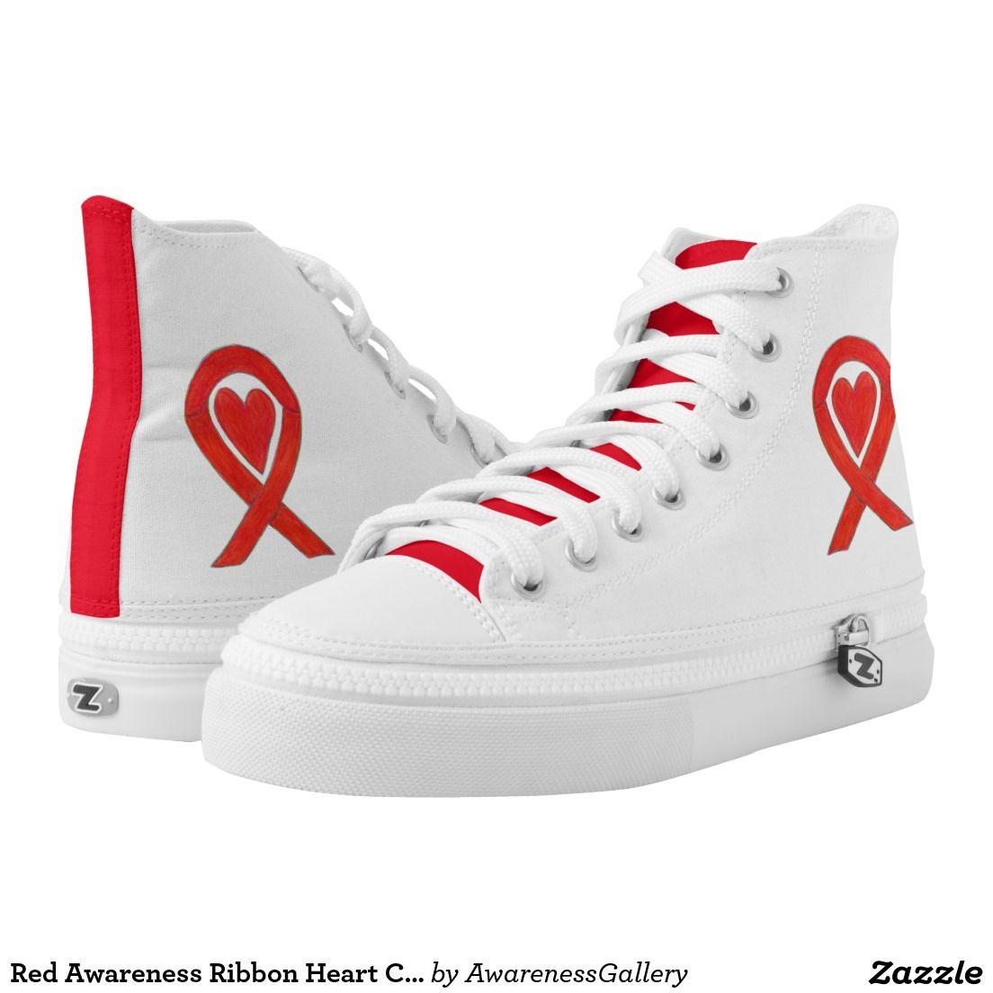 Red Awareness Ribbon Heart Custom Apparel Design Printed Shoes