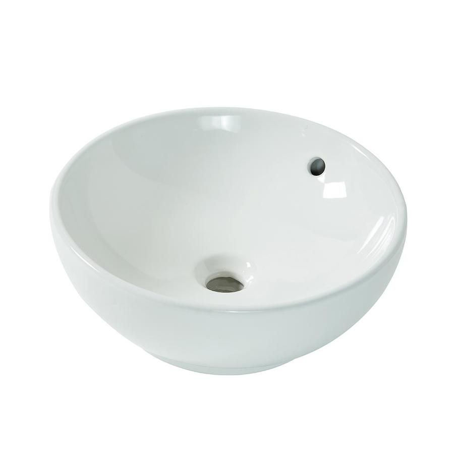 Aquasource White Vessel Round Bathroom Sink With Overflow At Lowe S The Brings A Contemporary Style Into Any Home