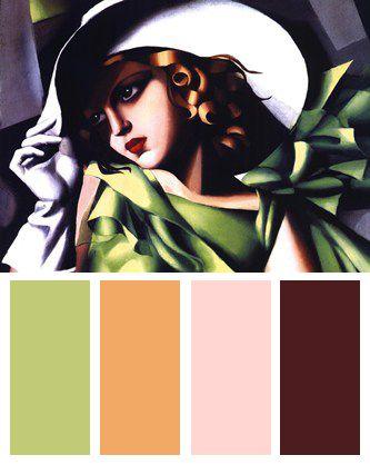 Jeune fille vert art deco color palette color palettes for Art deco colours for painting