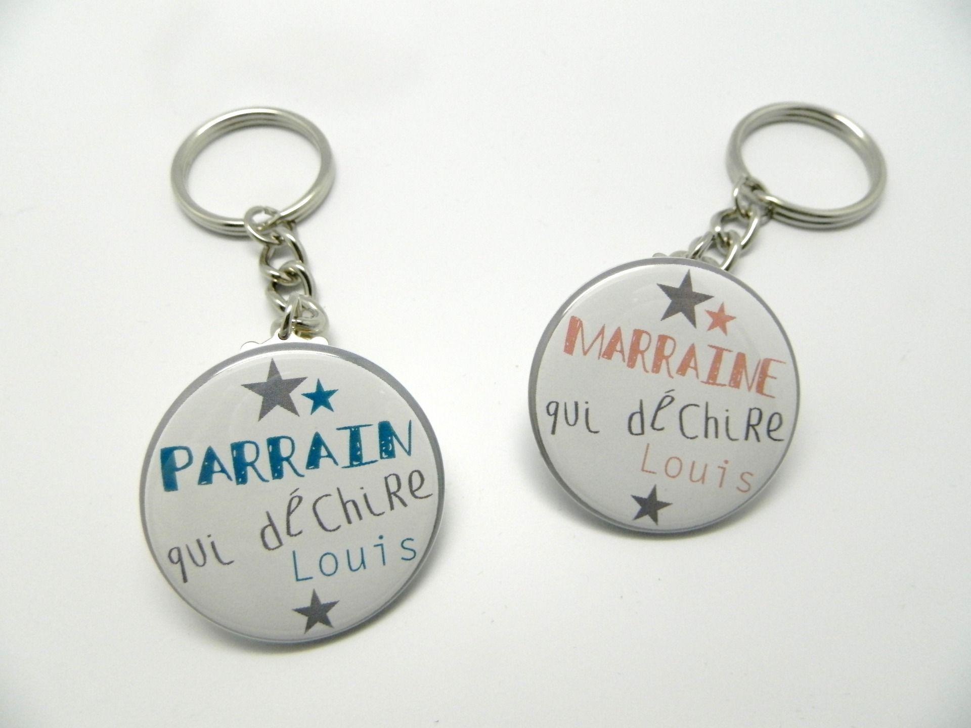 Parrain Et Marraine Qui Dechirent Lot De 2 Porte Cles 37mm