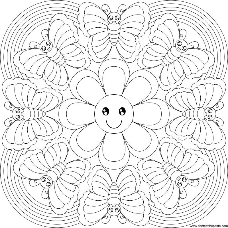 Butterfly Rainbow Mandala To Color