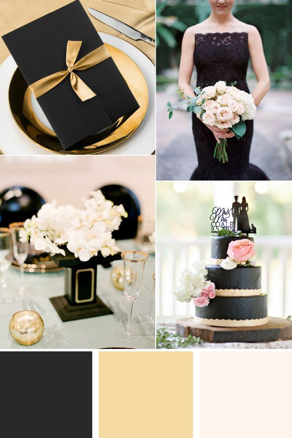 Elegant Gold And Black Wedding Color Ideas