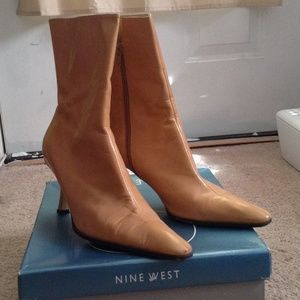 I just discovered this while shopping on Poshmark: Stylish Nude Leather Nine West Booties. Check it out!  Size: 9.5