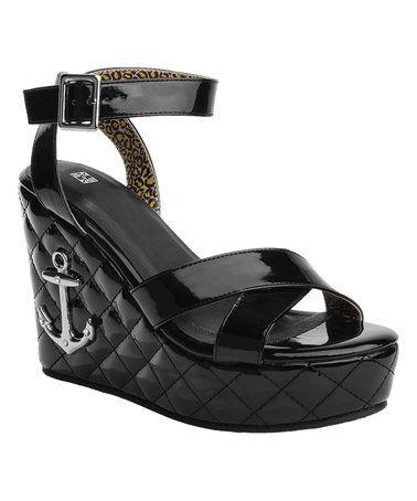 Black Quilted Anchor Wedge Sandal #zulily #zulilyfinds