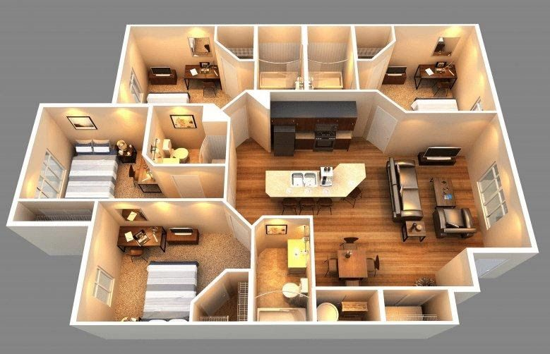11 Denah Rumah 4 Kamar 3d Untuk Hunian Keluarga Besar Denah Rumah Desain Eksterior Rumah Denah Lantai Rumah