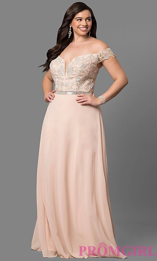 53cded0fbd2 Image of plus-size off-shoulder long prom dress with applique. Style   DQ-9701P Detail Image 3