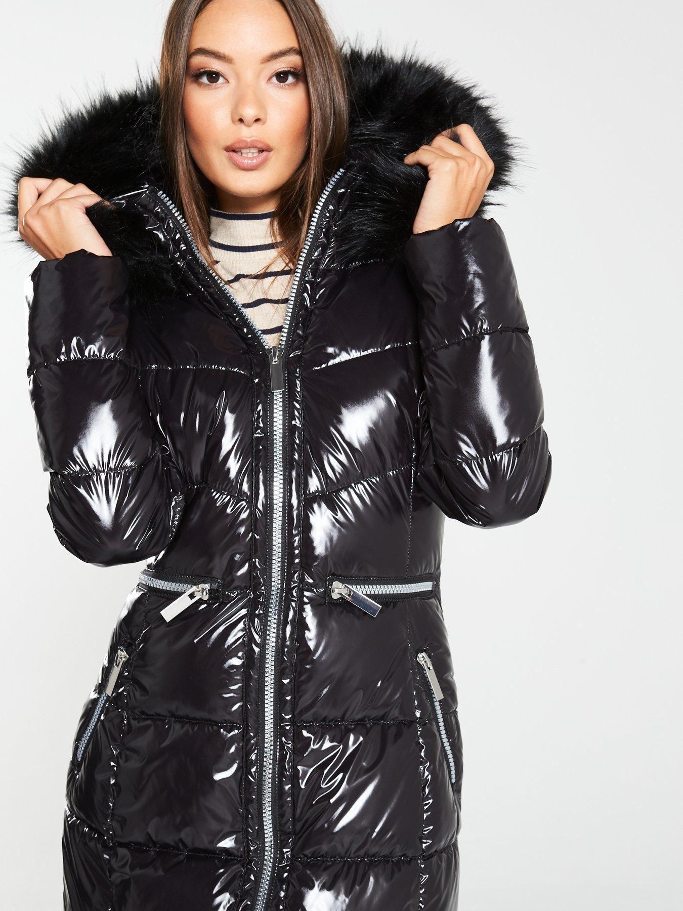 Anastasia Womens Black Hooded Faux Fur Trim Padded Parka