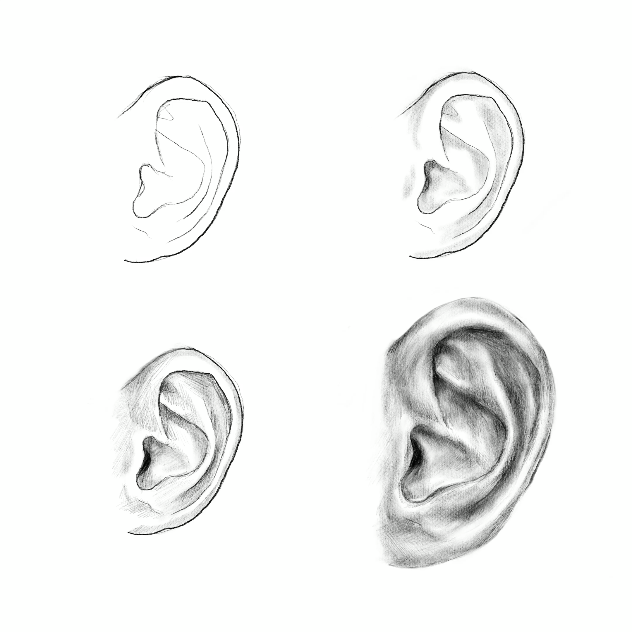 Photo of Learn how to draw an ear, art education, drawing skill, sketch tutorial