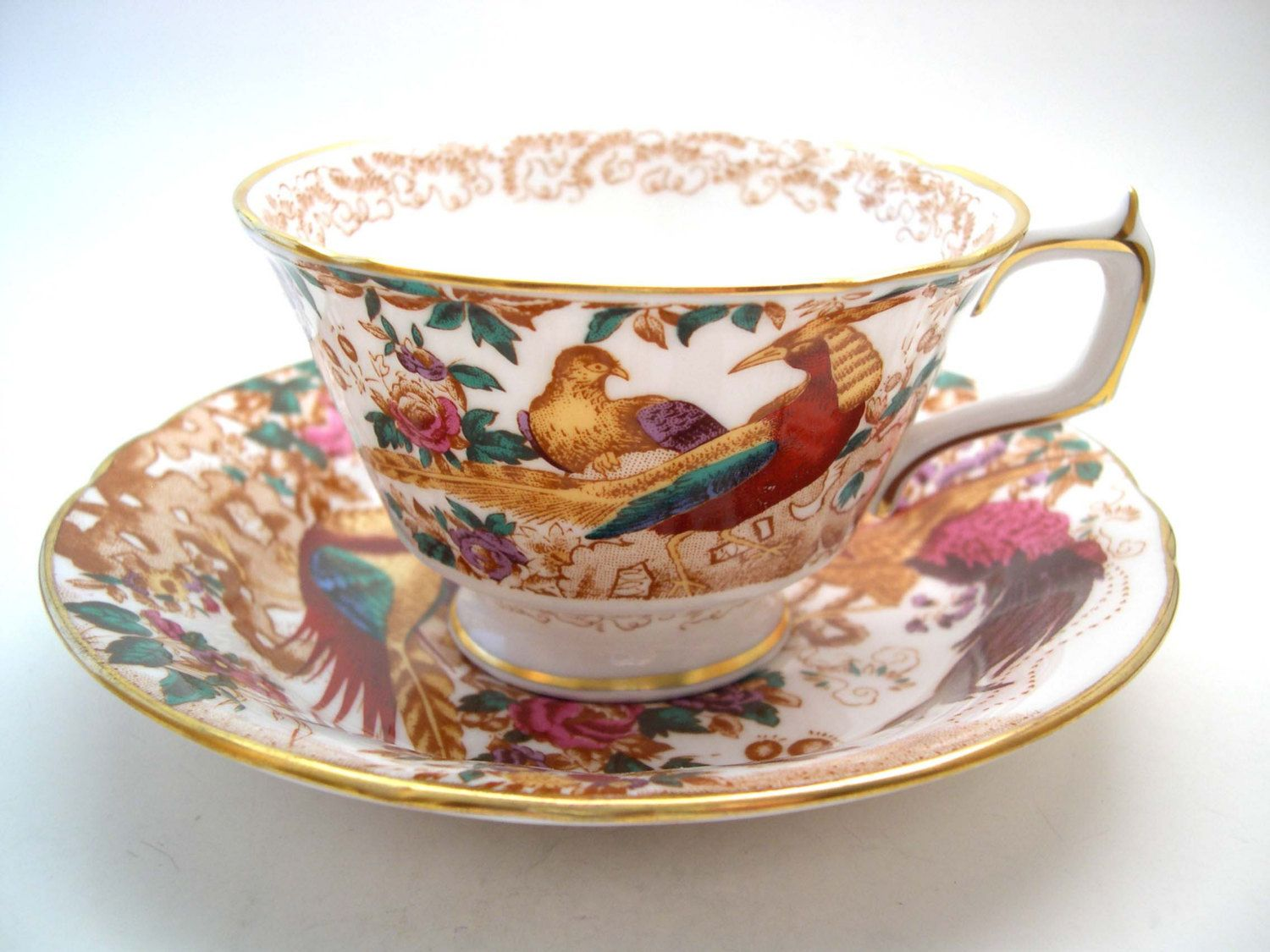 Royal Crown Derby Tea Cup and Saucer, Olde Avesbury, Golden Red Pheasant. by BeadsbyVince on Etsy