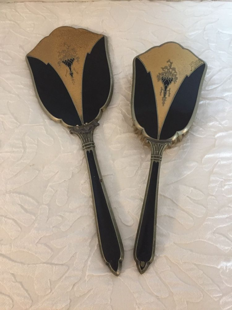 Art deco hand mirror and brush black and gold 2 piece set