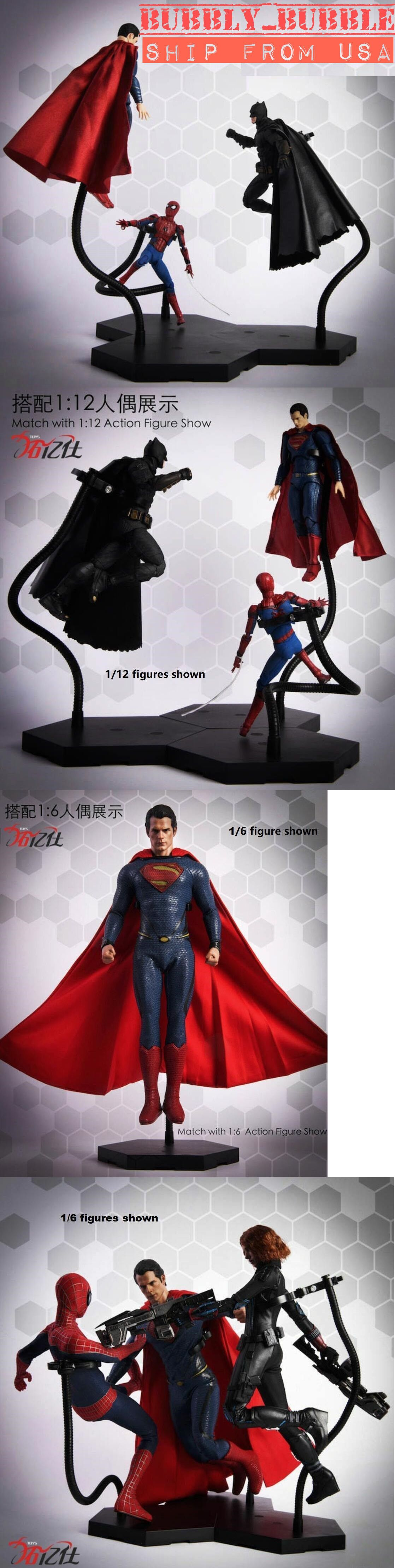 Black Dynamic Stand 1//6 Scale Action Figure Gundam Hot Toys Action Figure Show