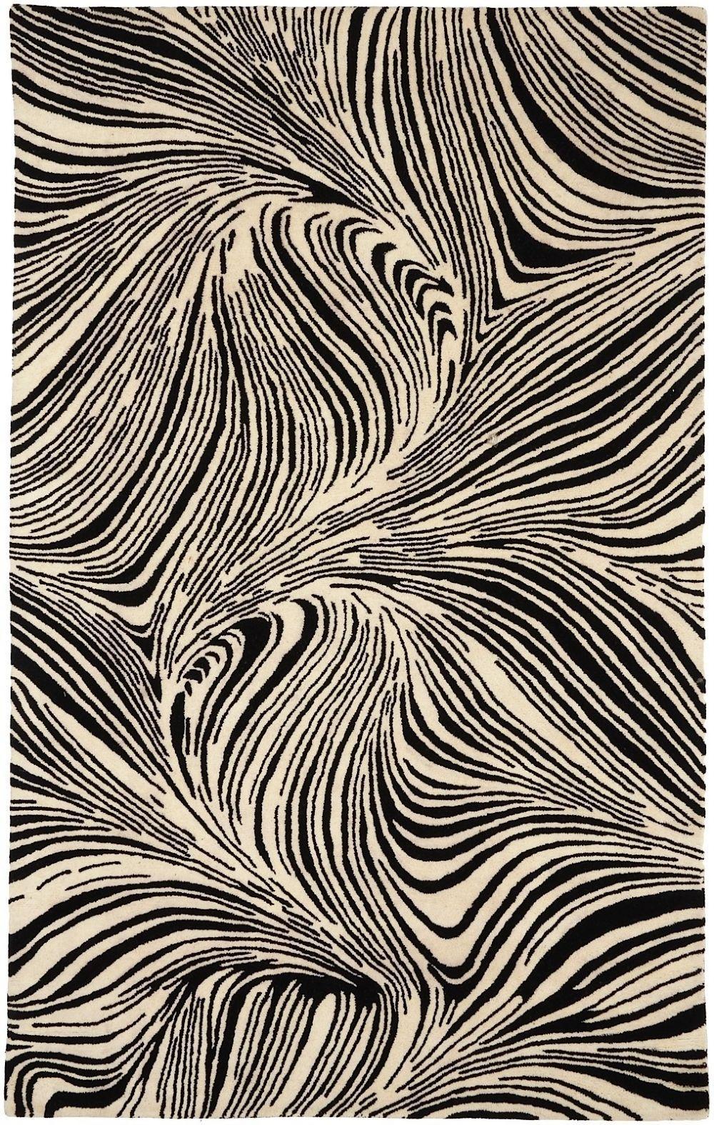 Contemporary Area Rug Black Color Surya Safari Collection