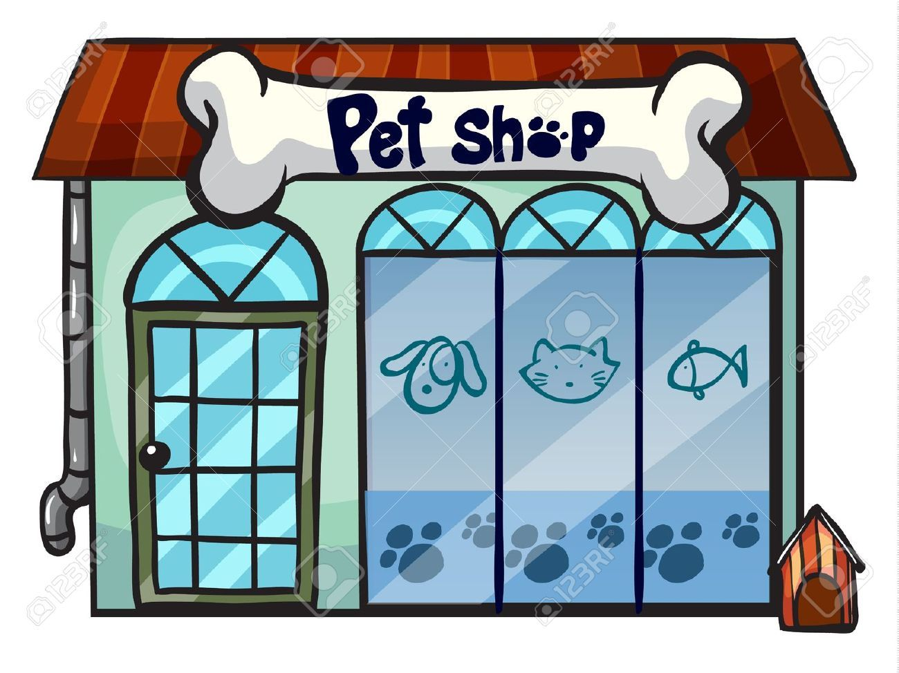 Illustration Of A Pet Shop On A White Background Shop Illustration Pet Shop Diy Stuffed Animals