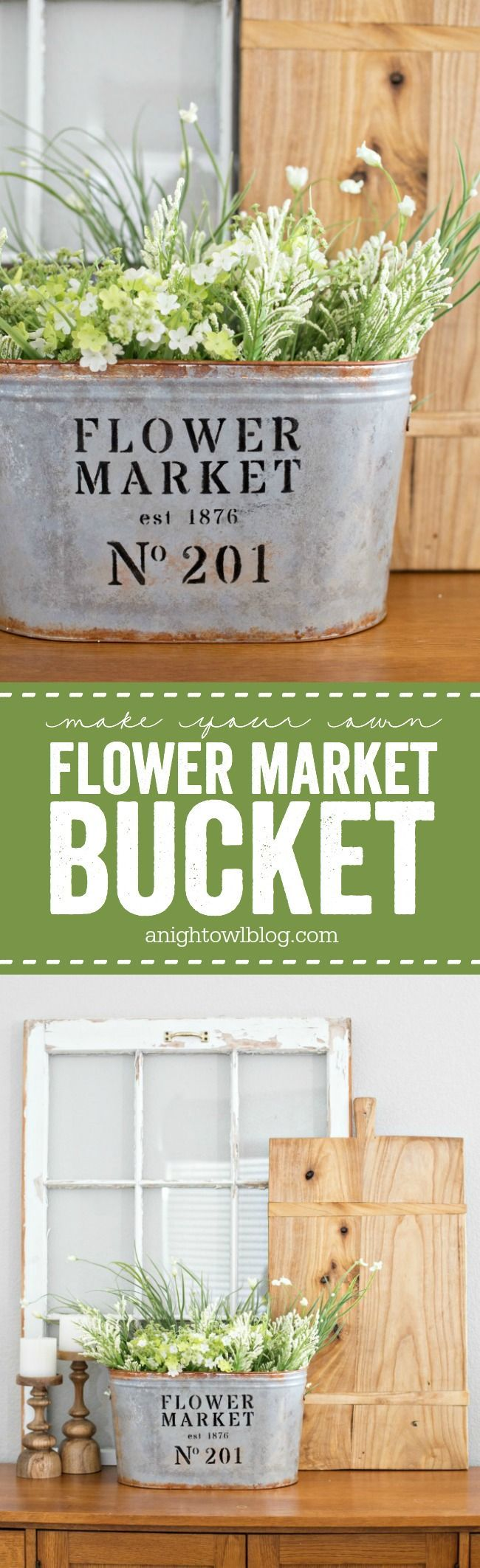 How to's : Love a modern farmhouse look for less? Make your own DIY Metal Flower Market Bucket in just a few easy steps!