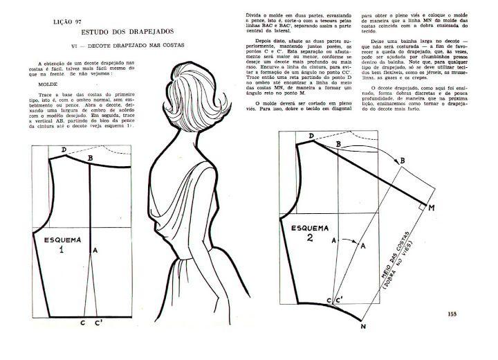 Escote drapeado en la espalda. | patrones