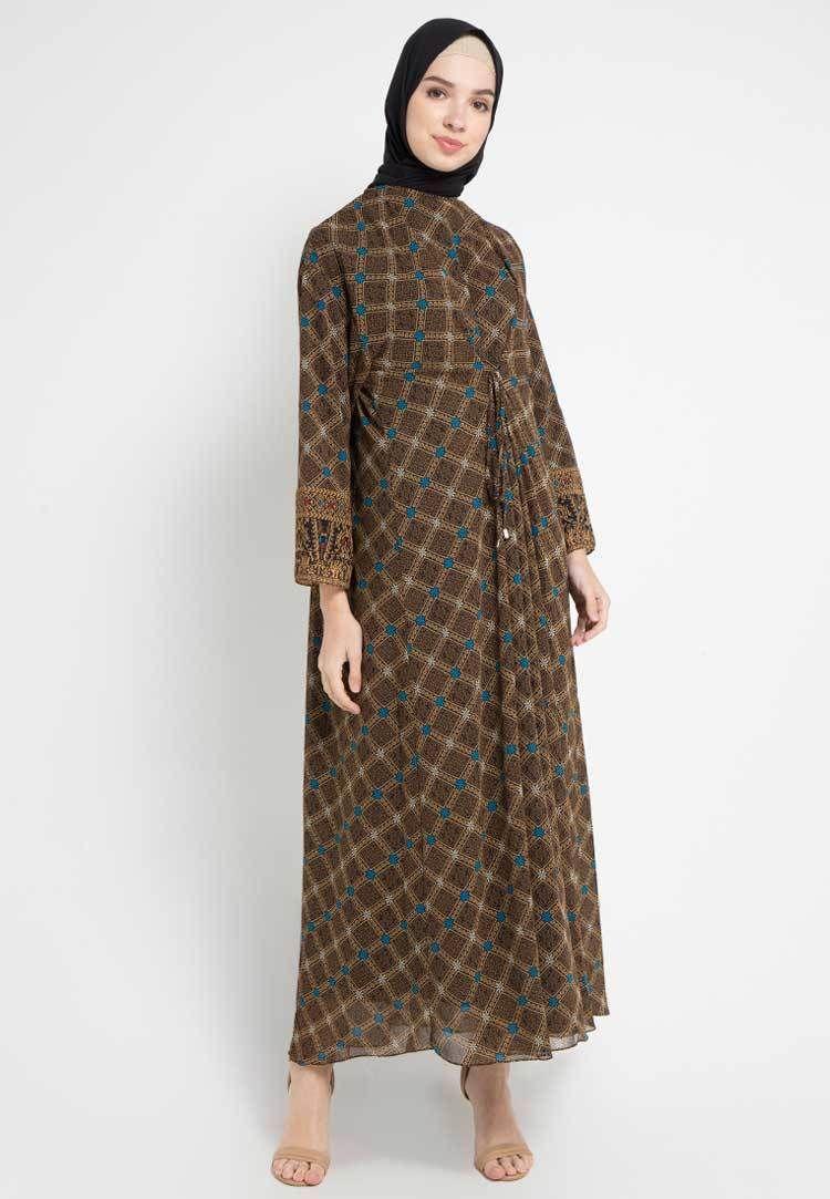 Model Gamis Batik Kombinasi Untuk Orang Gemuk Pendek  Model