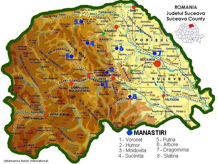 Harta Bucovina Manastiri With Images Suceava Romania