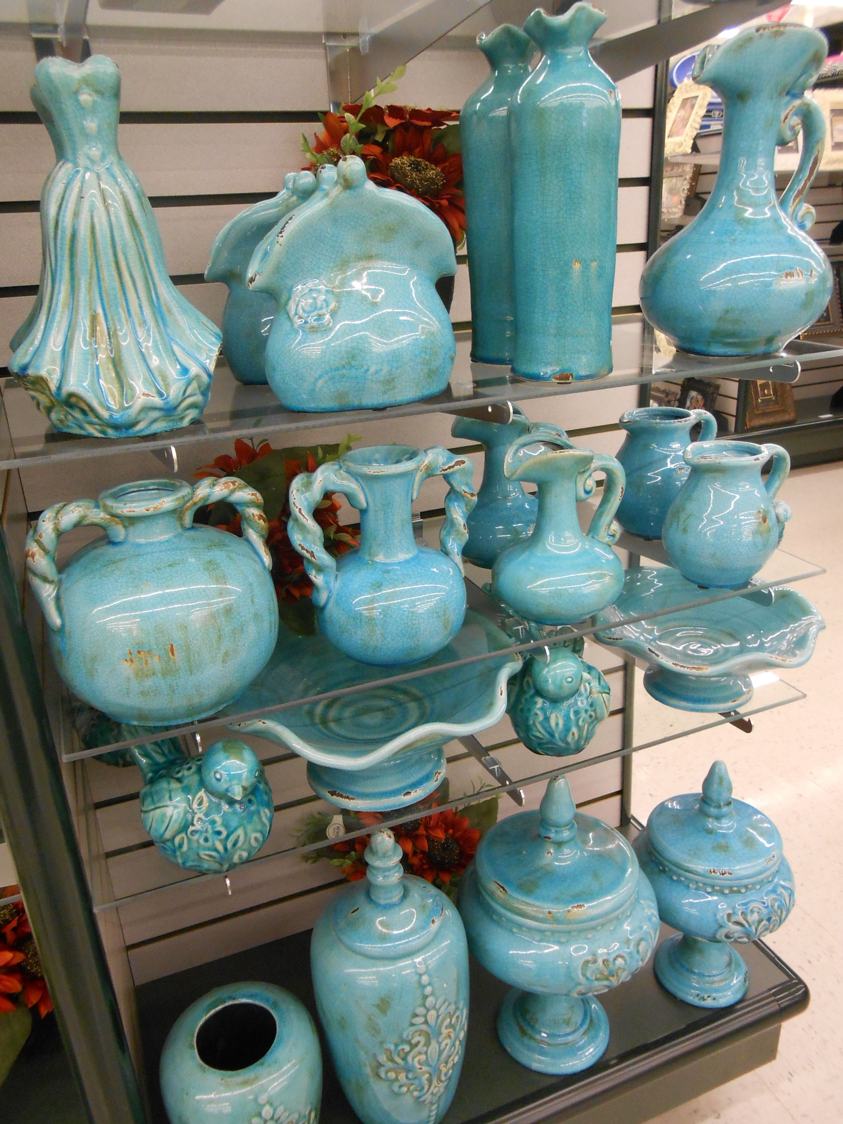 Turquois pottery at the hobby store.