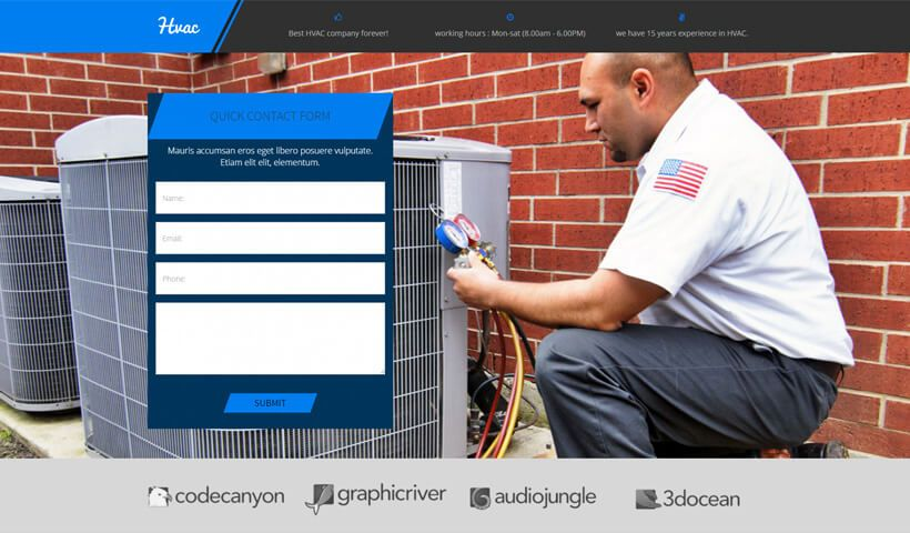 Hvac Landing Page Template For Heating Cooling Companies