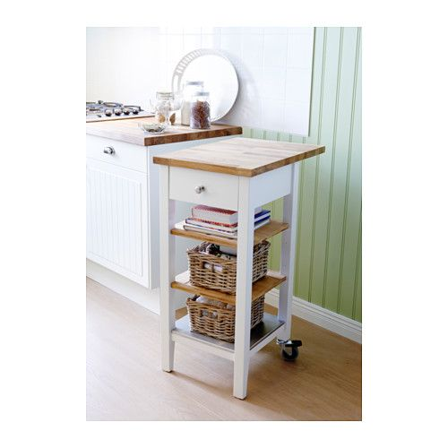 STENSTORP Kitchen Cart IKEA Two Adjustable Shelves In Solid Oak With Groves  To Keep Bottles In
