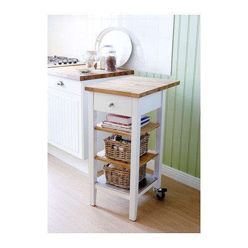Küchenwagen ikea  STENSTORP Servierwagen, weiß, Eiche | Neues bad, Küche und Bäder