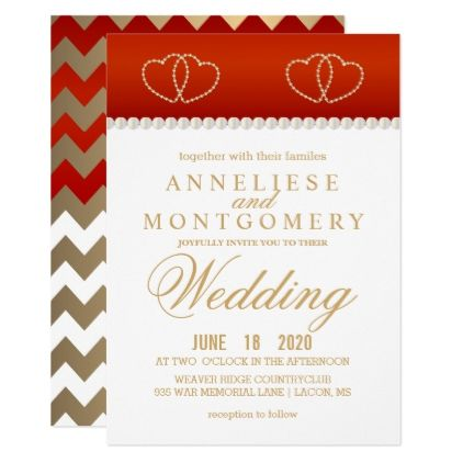 Deep Red And Gold Hearts  Invitation  Invitations Personalize