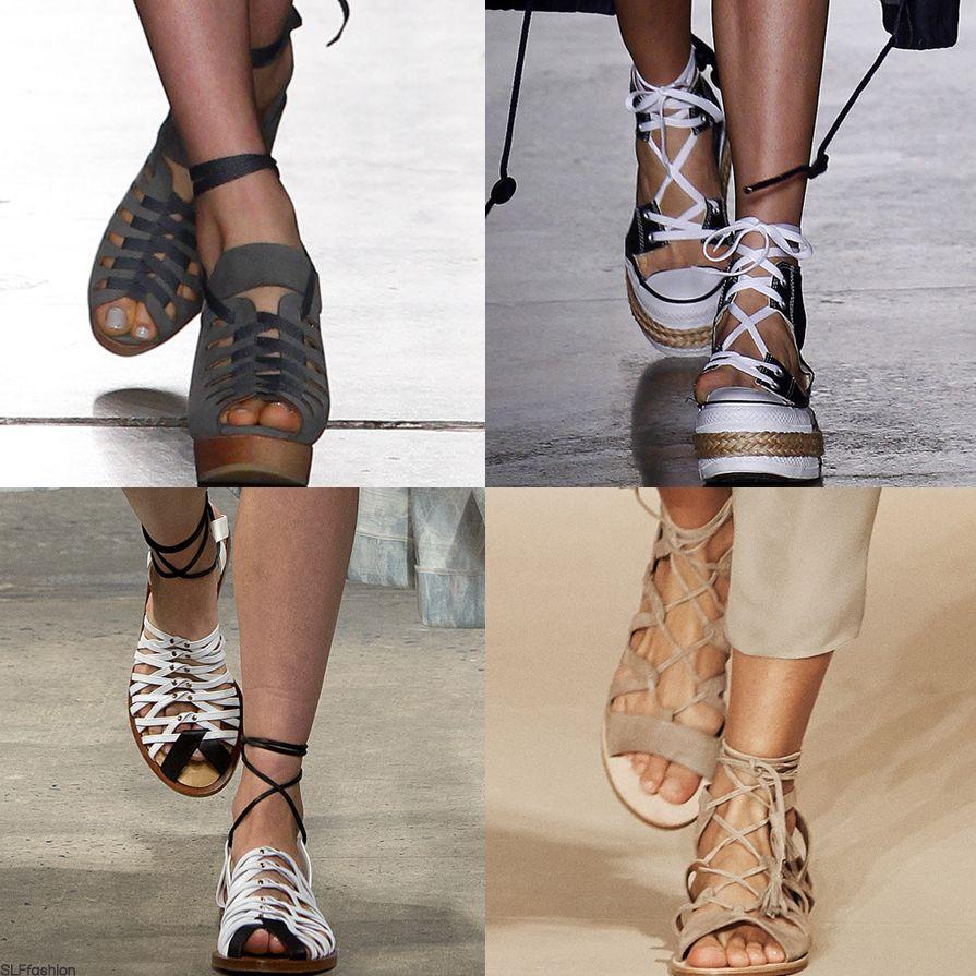 Sandals vs shoes - Trend Alert At New York Fashion Week Lace Up Shoes Lace Up Platform Espadrilles Vs Lace Up Flat Sandals A D Tacher Adam Selman Thakoon And Elie Tahari