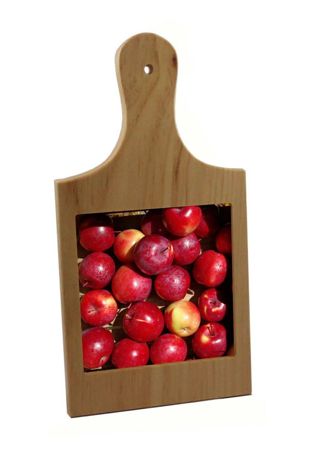 Wood Cutting Board With Apple Ceramic Tile Farmers Market Gift - Ceramic tile cutting boards