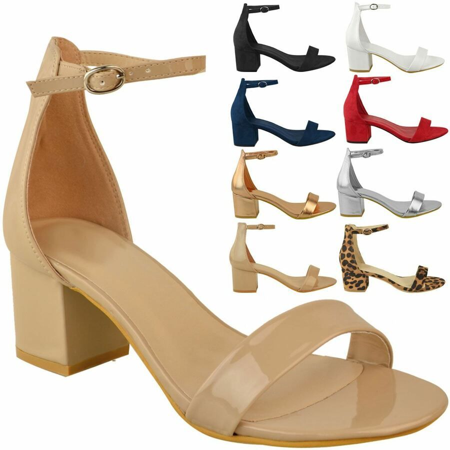 Fashion Womens Ladies Low Block Heel Sandals Ankle Strap Work Smart Shoes Size