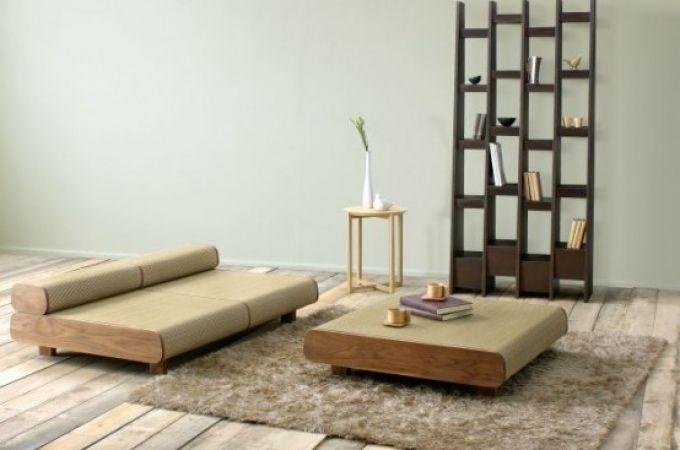 Graceful japanese eco friendly sofa and ottoman living room