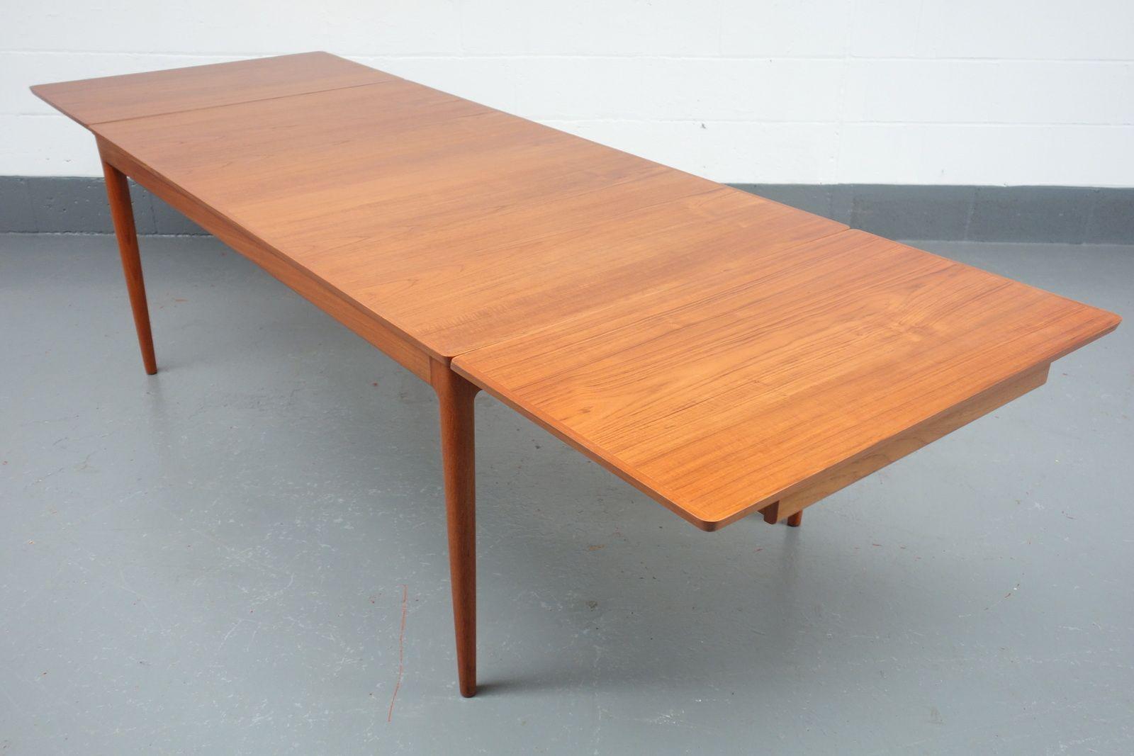 Danish Mid Century Teak Extendable Dining Table By Johannes
