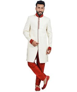 b2bafbac9aa3 Buy Off White Art Silk Readymade Indo Western Sherwani 72922 online at  lowest price from our mens wear collection at Indianclothstore.com.