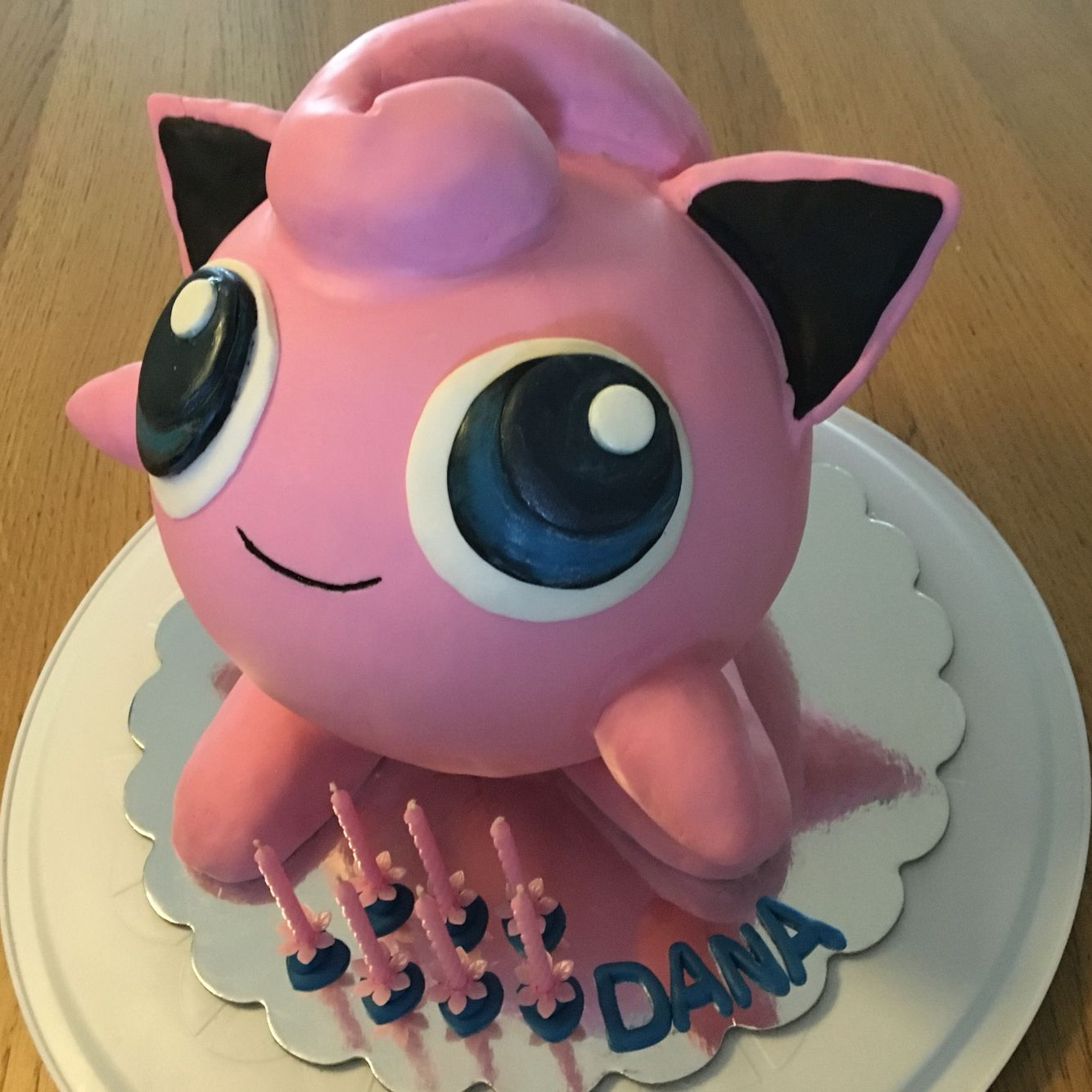 Pokemon Jigglypuff cake. Large pink velvet cake with RKT ...