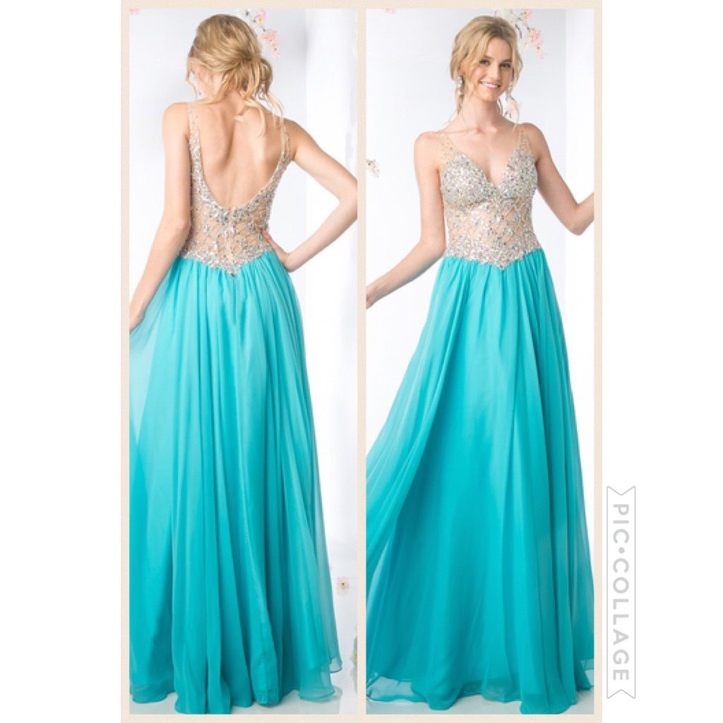 Illusion bodice VNeck Prom Dress Size Color Aqua Prom