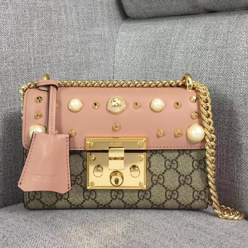 4a9adf0aa196 Gucci Small GG Studded Shoulder in Studed Leather and Canvas With Pearls  432182 Pink