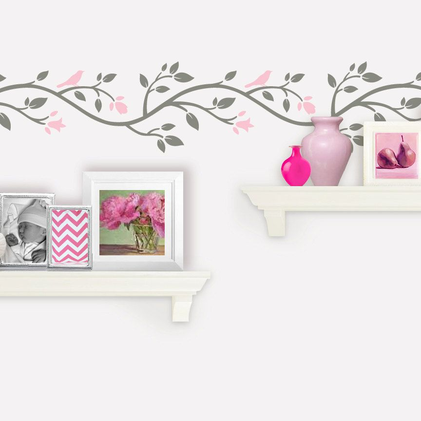 Tree Wall Decal Bird Branch Flower Border  Feet Pink And - Yellow flower wall decals