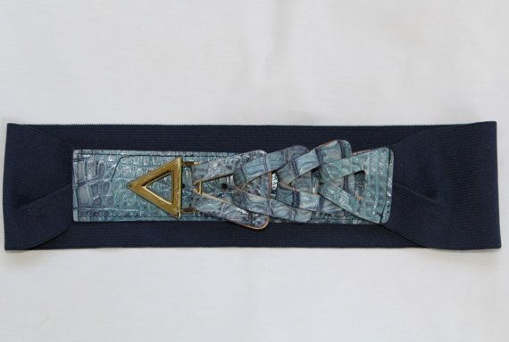 Vintage Retro 80's Belt With Blue Faux Alligator Skin and Gold Detail