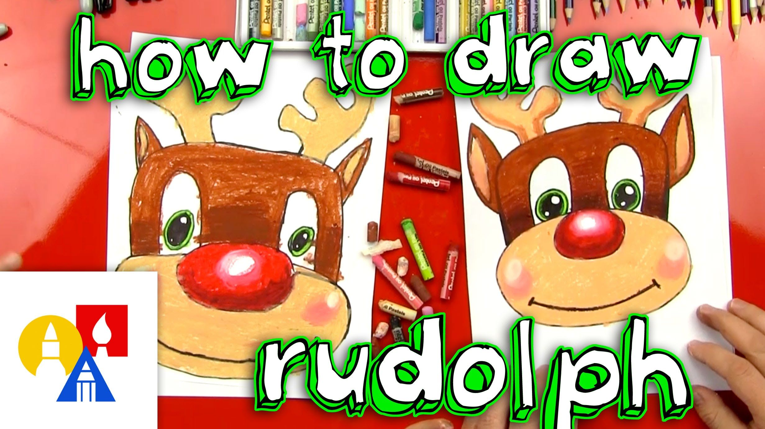 How To Draw Rudolph | Christmas art projects