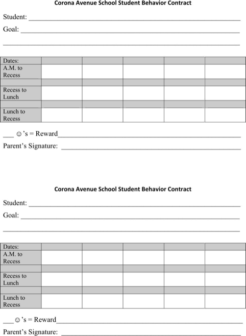 Student Behavior Contracts  TemplatesForms