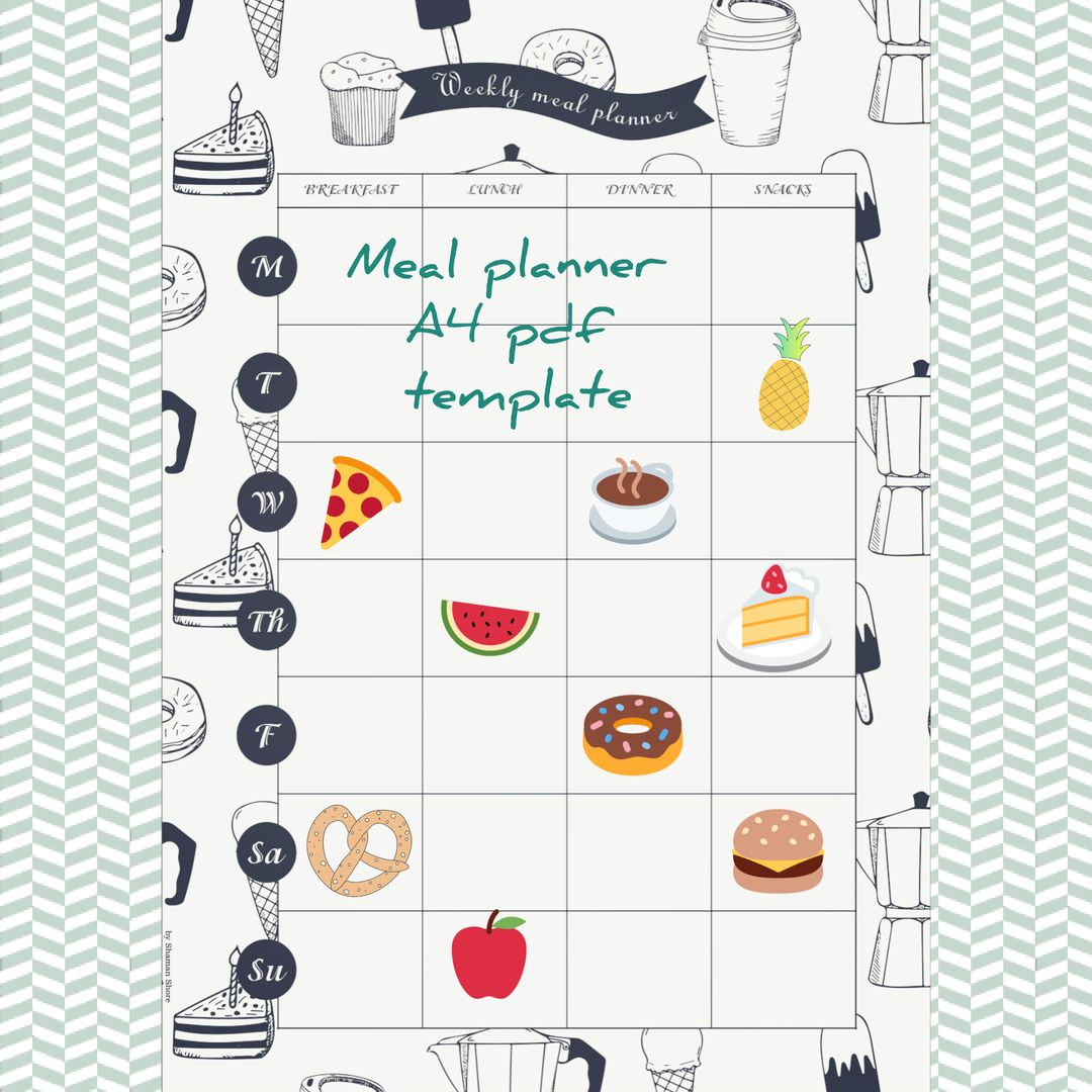 daily meal planner pdf a4, meal planning download, meal plan sheets